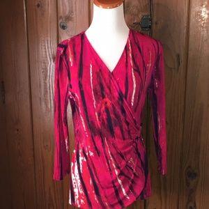 Calvin Klein Pink Wrap Blouse, Size Medium
